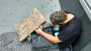Homeless person in USA. New York city.